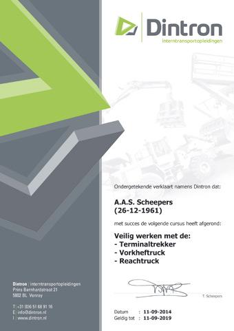 Heftruck reachtruck certificaat